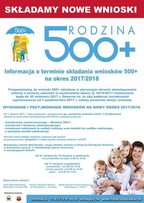 """Składamy nowe wnioski """"Rodzina 500+"""" na okres 2017/2018"""