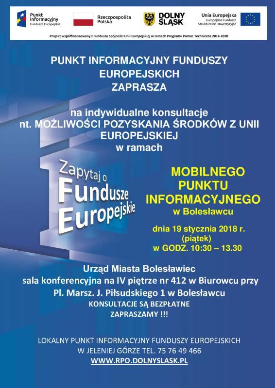 Mobilny Punkt Informacyjny  wBolesławcu – konsultacje 19 stycznia