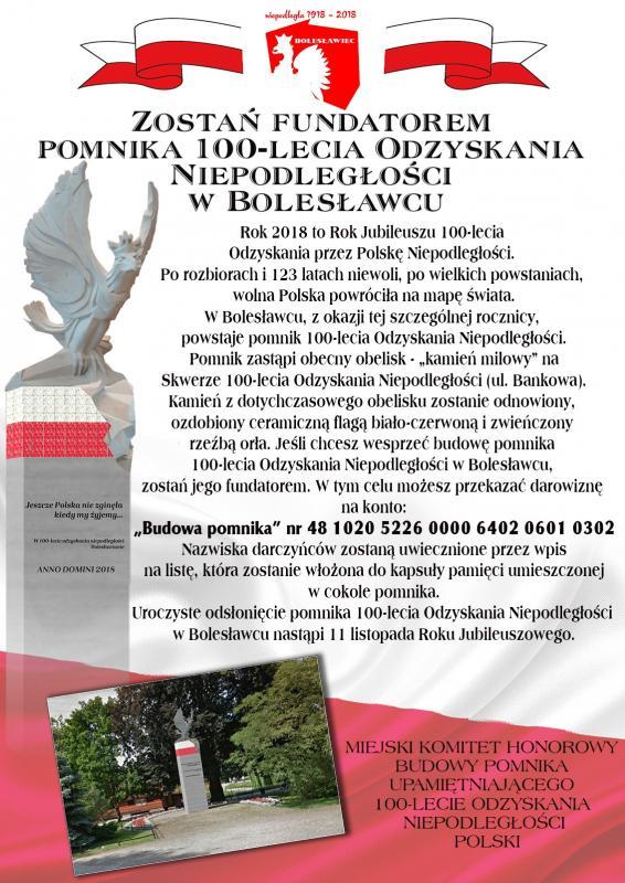 Zostań fundatorem pomnika 100-lecia Odzyskania Niepodległości wBolesławcu