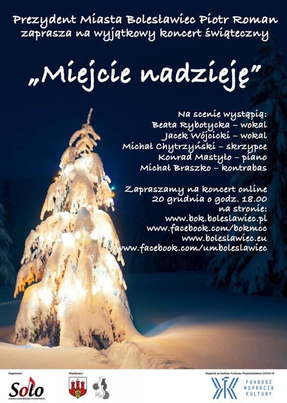 """Koncert świąteczny pt. """"Miejcie nadzieję"""" - 20 grudnia ogodz. 18.00"""