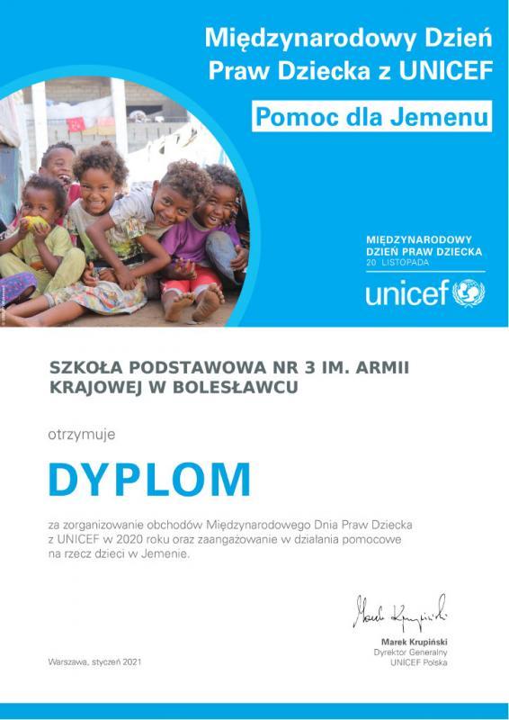 Podziękowania UNICEF-u dla Szkoły Podstawowej nr 3 wBolesławcu