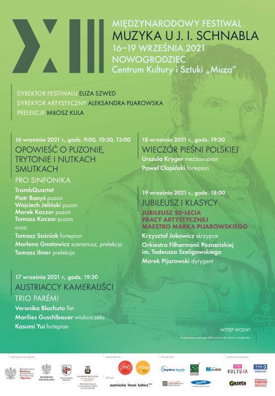 """XIII Międzynarodowy Festiwal """"Muzyka uJózefa Ignacego Schnabla"""" -  Nowogrodziec"""